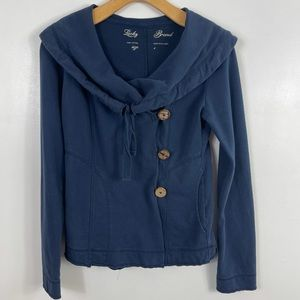Lucky Brand button collared sweater jacket size S